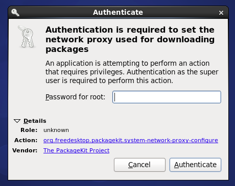 Authentication is required to set the network proxy used for downloading packages